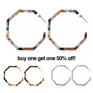 Rainbow Acrylic Hexagon Hoop Earrings